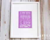 Lacy Oatmeal Cookie Kitchen Art Print with Handlettering