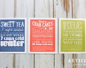 Set of Three Kitchen Art Prints of Classic Recipes with Handlettering