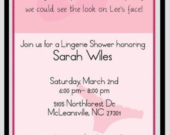 BACHELORETTE party invites, LINGERIE SHOWER invitations