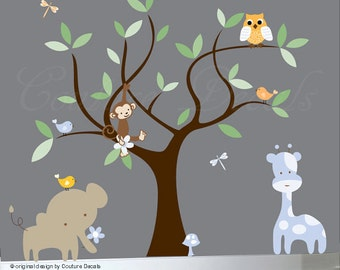 Children's jungle decal set nursery owl decal tree wall decal animals - 0091