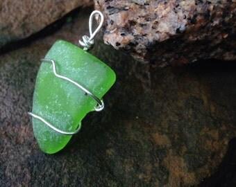 Large Lime Green Seaglass Pendant