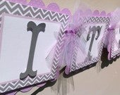 It's A Girl Baby Shower Banner Lavender With Grey and White Chevron Stripes