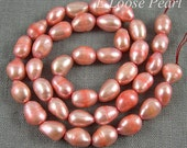 Baroque pearl Large Hole Freshwater Pearl Potato pearl Loose pearl pearl necklace Pink Red 7.5-8.5mm 36pcs Full Strand PL3044