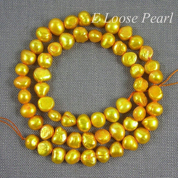 seed pearl,Freshwater Pearl Corn pearl,Potato pearl Loose Pearls Necklace pearl yellow 6.0-7.0mm 56pcs Full Strand Item No : PL1036