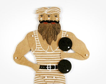 Strongman - Articulated Art Paper Doll by Dubrovskaya. Handmade and hand painted gift.