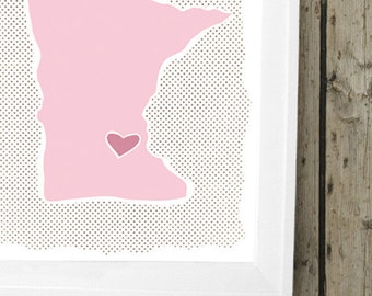 """Customized State or Country Print - Minnesota Style - Sizes 5""""x7"""" up to 42""""x70"""""""
