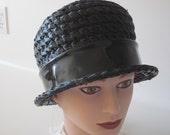 Vintage ladies hat black straw cloche bucket style patent bow Ellen Jane design
