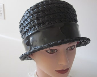 Vintage ladies hat black straw cloche bucket style patent bow Ellen Jane design