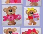 Bearly Loved Machine Embroidery Design Set - 4x4