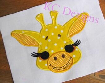 Cute Giraffe Face Machine Applique Embroidery Design - 4x4, 5x7 & 6x8