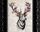 Forest Deer With Birds and Flowers Vintage Dictionary Print Vintage Book Print Page Art Upcycled Vintage Book Art