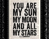 You Are My Sun My Moon Dictionary Print, Dictionary Print, Upcycled Art, Love Quote, Wall Decor