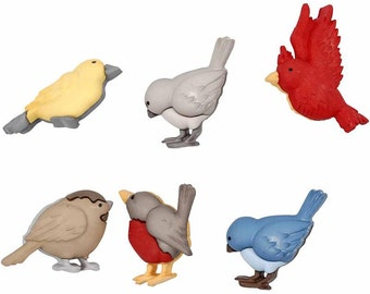 Novelty Bird Shaped Buttons - Plastic with Shank - Set of 6 - Sew Craft - Red Blue Yellow Grey