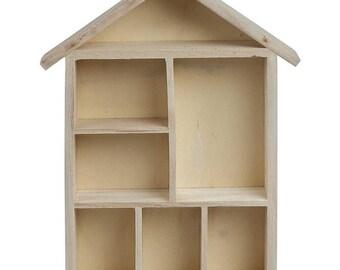 Plain Wooden House Shaped Shelf Box - Craft Decorate - Display Storage - Decoration Blank - Dolls
