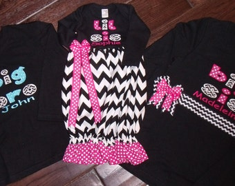 Boutique Chevron and Hot Pink Themed Lil SiS Gown and 2 Big sis Bro Shirt