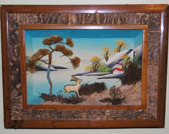 set of 2 vintage 3D diorama pictures - shadowbox type
