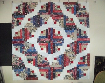 Patriotic Curved Log Cabin - quilt top