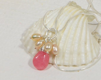 Rhodochrosite Wire wrapped on sterling silver Necklace Gemstone Jewelry, Birthstone Jewelry, Gift For Her