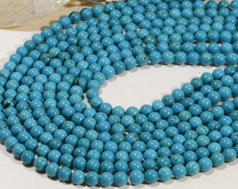 "Turquoise 6.3mm 7 3/4"" Strand Natural Gemstone Beads Jewelry Making Supplies Turquoise Beads"