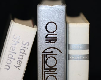 custom order reserved-Silver White Sleek Vintage Book Collection Home Decor