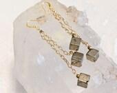 Polished Pyrite Cubes-Double Dangle Earrings