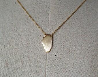 Gold Illinois State Necklace, Dainty Necklace, Tiny Illinois Necklace