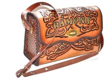 Vintage leather hand tooled sturdy bag Ramona flowers purse 70s honey brown  leather flap boho  Satchel messenger shoulder  organizer travel
