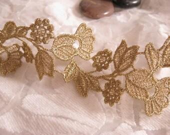 gold lace trim, vintage golden lace fabric trim, crochet lace trim