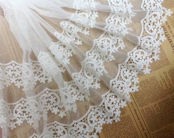 vintage lace trim in white, super wide gauze lace fabric trim, with cotton scalloped edge lace trim