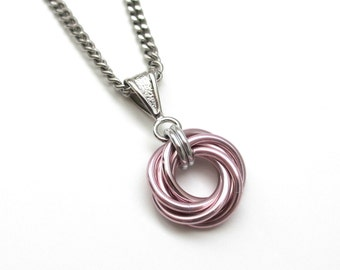 Pastel pink Love Knot chainmail pendant, chainmail necklace