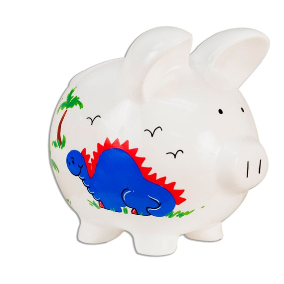 Hand painted personalized dinosaur piggy banks for boys - Dinosaur piggy banks ...