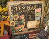 """Primitive Sign Wood Sign """" French Country No. 45 Rooster """" Kitchen Roosters Country Folkart Housewares Rustic Farm Sign"""