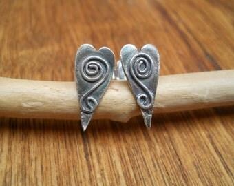 Little sterling silver heart earrings
