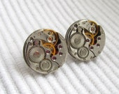 Steampunk Stud earrings with small lightweight watch movements  Birthday gift ideas Ear Studs Posts Industrial Jewelry burning man