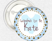 Personalised baby shower party pinback button badge favour, blue romper pack of 5 or 10 button badges