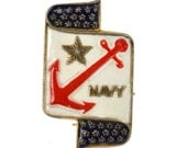 WWII Coro Navy Pin - Sterling Silver / Red, White and Blue Enamel - Signed Coro Costume Jewelry - Sweetheart Jewelry