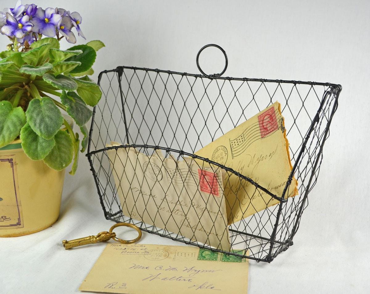 vintage wire mail storage basket wall mount in black. Black Bedroom Furniture Sets. Home Design Ideas