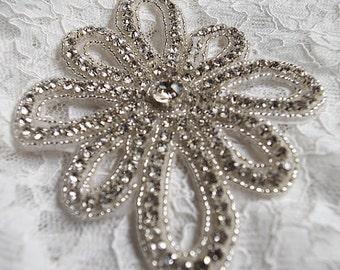 rhinestone beaded applique, crystal applique, rhinestone Applique, swarovski crystal applique, Bridal Applique, wedding applique