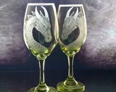 Dragon wine glasses set of two  fantasy glassware  custom barware host hostess gift ideas