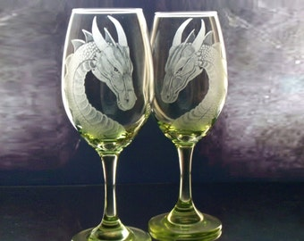 Dragon wine glasses , fantasy wine glass ,green wine glass, blue wine glass , fairytale wedding , custom wine glasses ,engraved wine glass