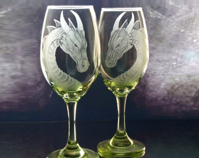 Dragon wine glass Personalized Wine Glasses Dragon Gift set of two  lime , turquoise   Wedding  host or hostess gift for wine lovers