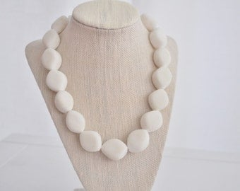 White Statement Necklace, Chunky White Necklace, New Years Necklace