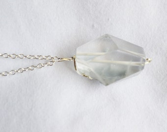 Large Quartz Pendant,  Silver Wire, Rustic pendant, Native design, VALENTINES Sale, Item No. S252