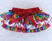 Beautiful Parley Ray Rainbow Polkadots Birthday Ruffled Baby Bloomers/ Diaper Cover /Photo Prop Baby's First Birthday