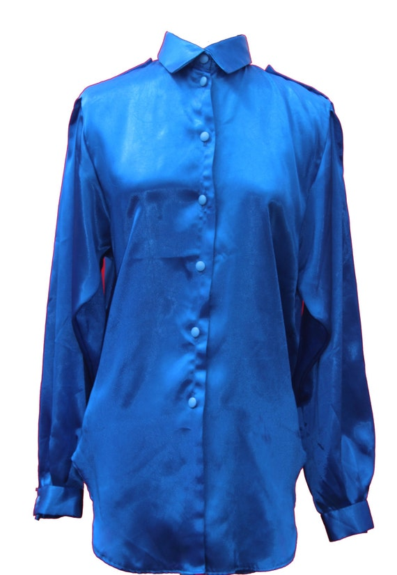 Vintage blue satin shirt silky royal blue button up by for Royals button up shirt