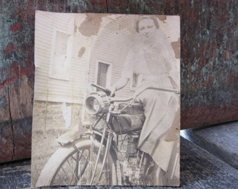 Vintage Motorcycle Photograph Snapshot Attractive Young Girl with Motorcycle Early 1900s Possible Indian Motorcycle Antique Picture