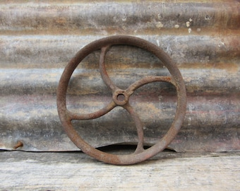 Old Antique Iron Wheel Industrial Spoked Metal Wheel Old Aged Rust Patina Machinery Machine Age Farm Equipment Old Factory Industrial