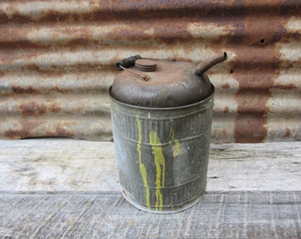 Antique Metal Fuel Can Farm Barn Industrial  Wood Handled Salvaged Can Metal Automobile Car Truck Tractor Gas Station Service Station