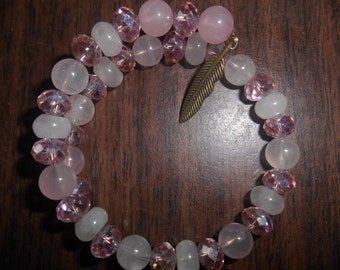 Rose Quartz and Swarovski Crystal Bracelet 20% off