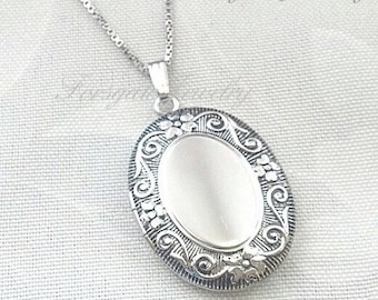 Sterling Silver High Quality Large Engravable Vintage Style Oxidized Oval Locket Pendant with Chain Necklace